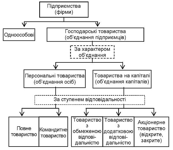 Класифікація підприємств за організаційно-правовою формою господарювання
